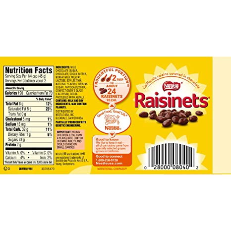amazon com raisinets candy theater box 3 5 oz candy and chocolate covered fruits grocery gourmet food