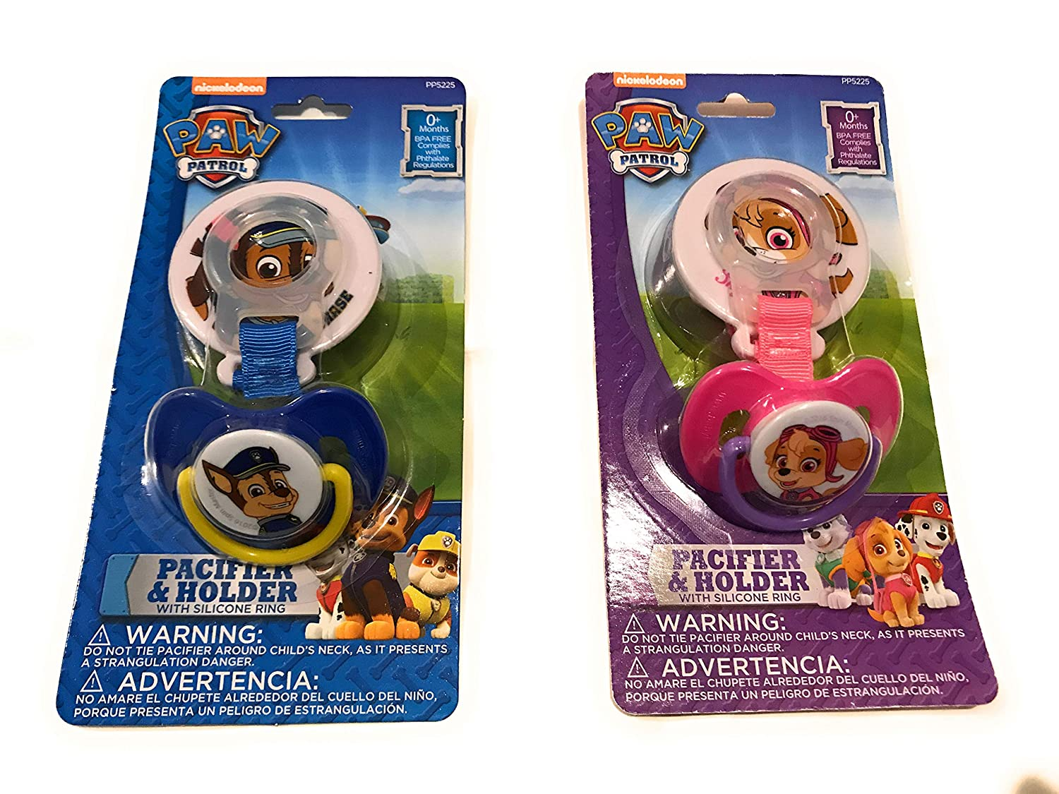 Amazon.com : Paw Patrol Skye Pacifier and Holder with Silicone Ring ...