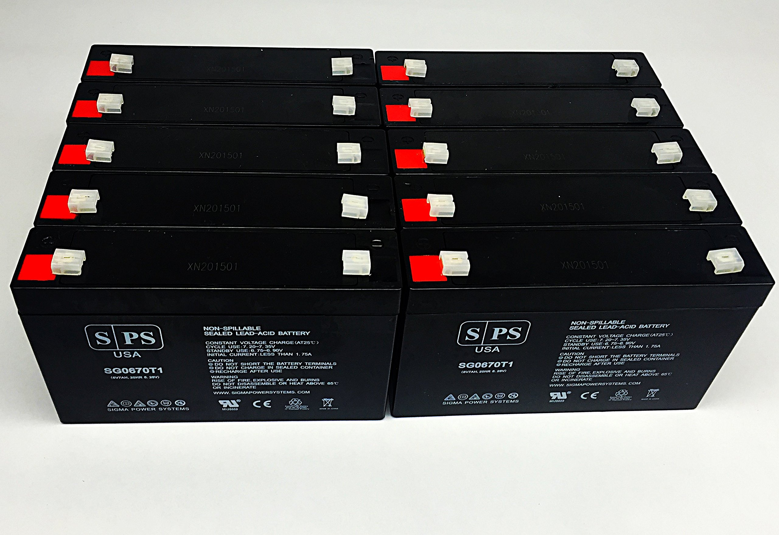 6V 7Ah Replacement Battery for Lithonia ELB-0607 6V 7Ah (Emergency Light Replacement Battery) - SPS Brand (10 Pack)