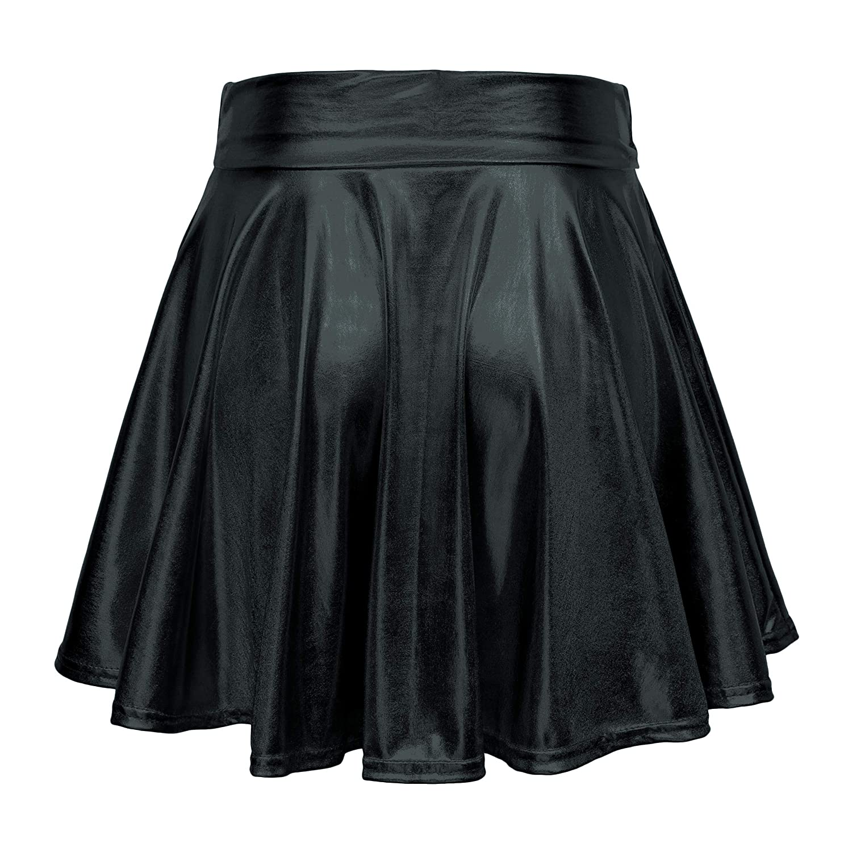 a1c6b042c8 Urban CoCo Women's Shiny Flared Pleated Mini Skater Skirt at Amazon Women's  Clothing store: