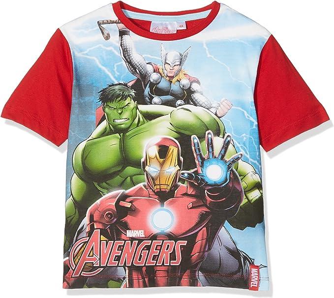 Marvel T Shirt Avengers Bambino Taglia 3-4 Anni Rosso Tshirt Maglia Maglietta Originale Nuovo