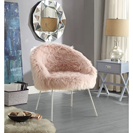 Amazon Com Ana Rose Fur Accent Chair Metal Legs Upholstered