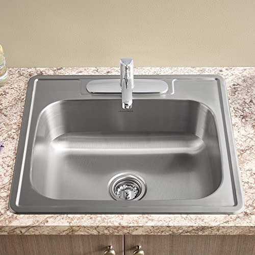 American Standard 22SB.6151511S.075 Colony Top Mount ADA 15×15 Single Bowl Stainless Steel 1-hole Kitchen Sink