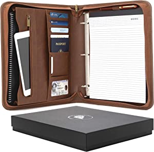 Forevermore Portfolio Padfolio with Zippered Closure, Removable 3 Ring Binder & Bonus Letter Size Writing Pad/Interview & Resume Document Organizer/Notebook & Business Card Holder, Brown