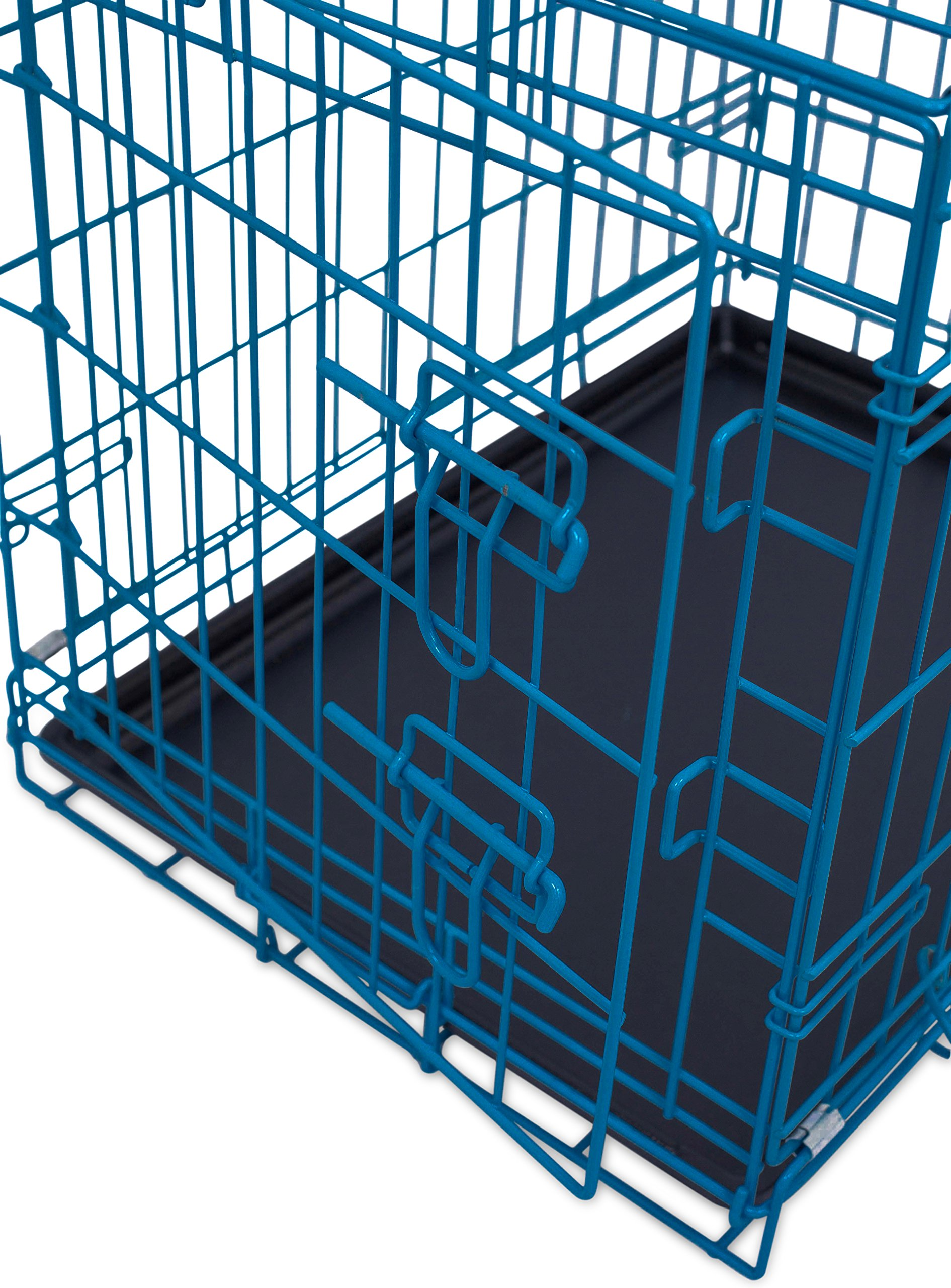 Internet's Best Double Door Steel Crates Collapsible and Foldable Wire Dog Kennel, 24 Inch (Small), Blue by Internet's Best (Image #4)