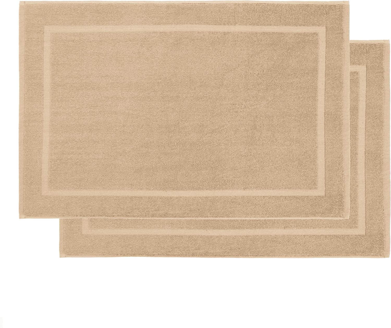 Lumaland Premium Set 2 Alfombrillas de baño 50 x 80 cm 100% algodón 800 g/m² Anti-Deslizante Lavable Beige