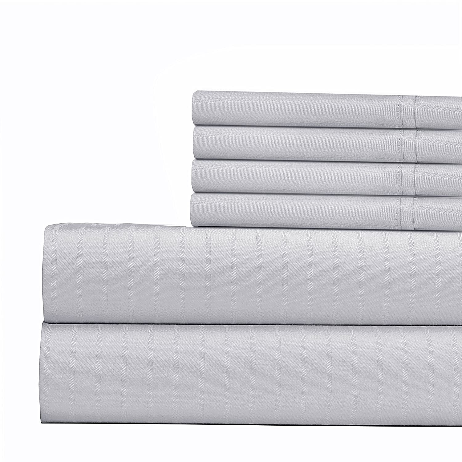 700 Thread Count Cotton-Poly Blend Bed Sheet Hotel Quality Sheet Set with 2 Extra Bonus Pillow Cases Full 15 inch Elastic Deep Pocket Fitted Sheet Pin Stripe 6 Piece Bedding Sheet Set Blue PIN-700-BONS-FL-BLUE