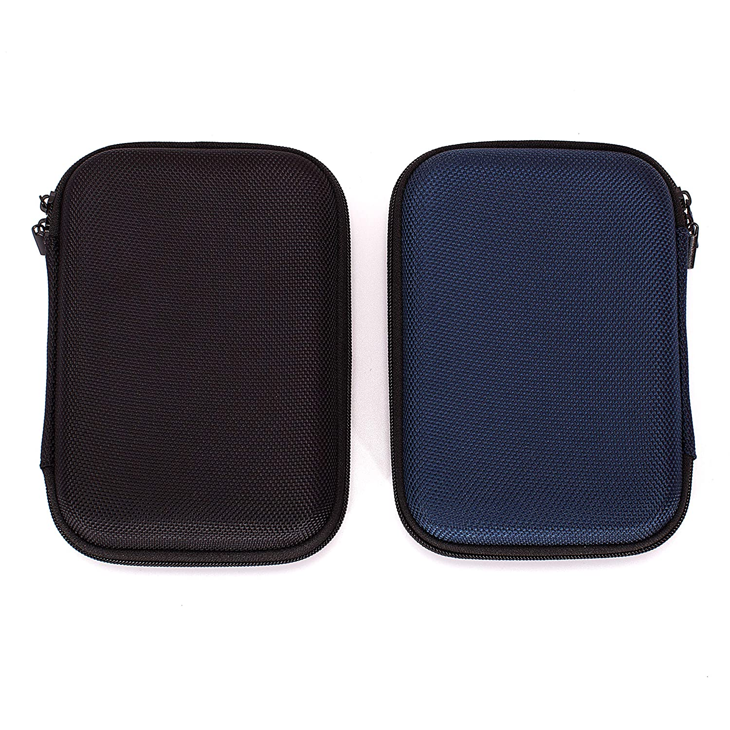 Ginsco 2-Pack (Black & Blue) Hard Carrying Case for Portable External Hard Drive Toshiba Canvio Basics Seagate Expansion WD Elements