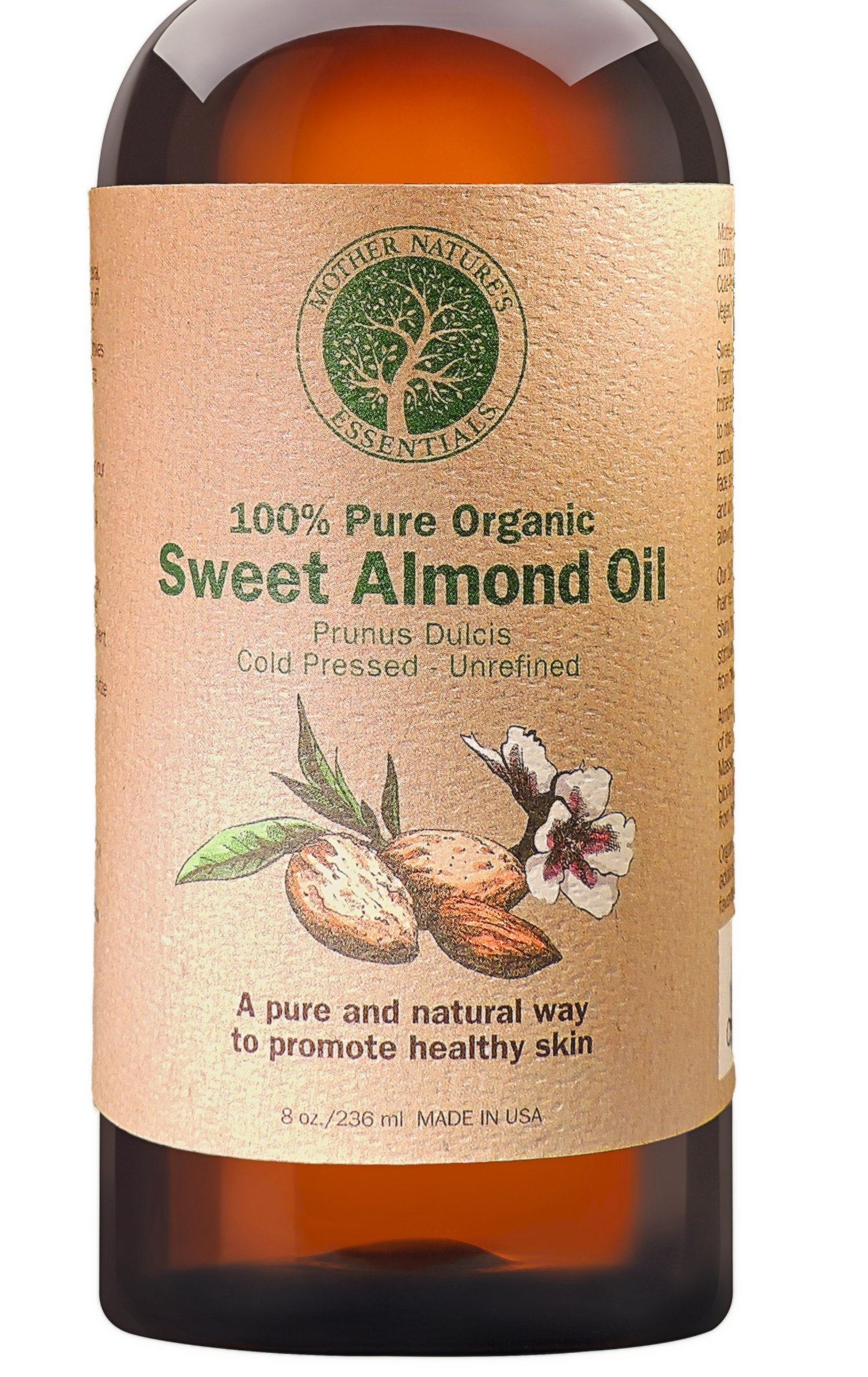 Sweet Almond Oil Organic Highest Quality, Cold Pressed Hexane Free Sweet Almond Oil from Spain. Non-GMO. Perfect Under-Eye Treatment Fighting Dark Circles Full Body Massage Oil. The Best Carrier Oil.