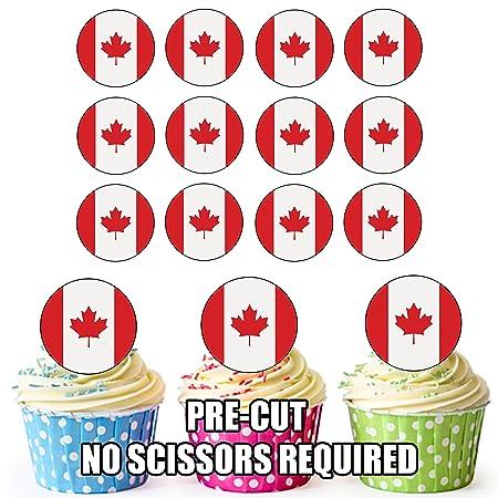 Bandera de Canadá - 24 comestible cupcake toppers/adornos de ...
