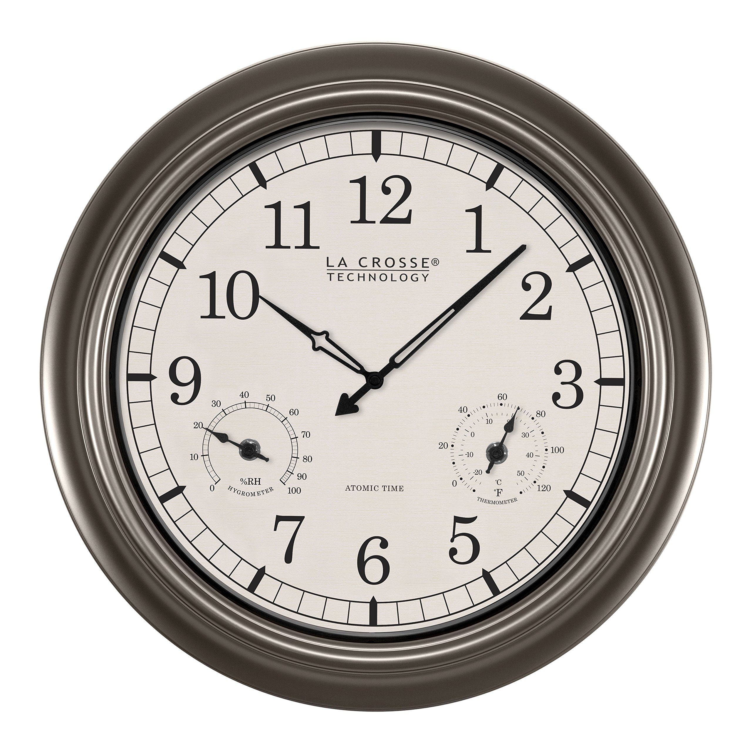 La Crosse Technology WT-3181PL-INT 18 inch Atomic Outdoor Clock with Temperature & Humidity by La Crosse Technology