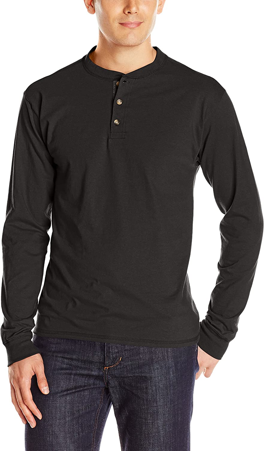 Hanes Men's Long Sleeve Beefy Henley Shirt at  Men's Clothing store