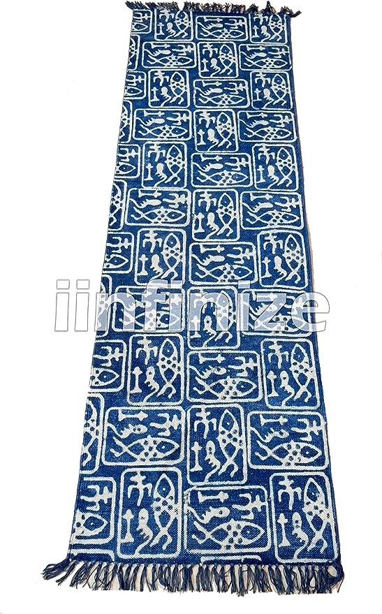iinfinize – Alfombra para Yoga de 2 x 6 pies 100% algodón teñido con Lazos, Reversible, para Interior y Exterior, Color Azul índigo: Amazon.es: Hogar
