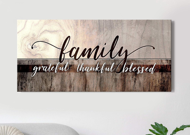Sense Of Art   Family Grateful Thankful Blessed   Family Wall Decor   Christian Wall Decor   Family Signs   Blessed Wall Decor   Home Decorations (Brown, 42x19)