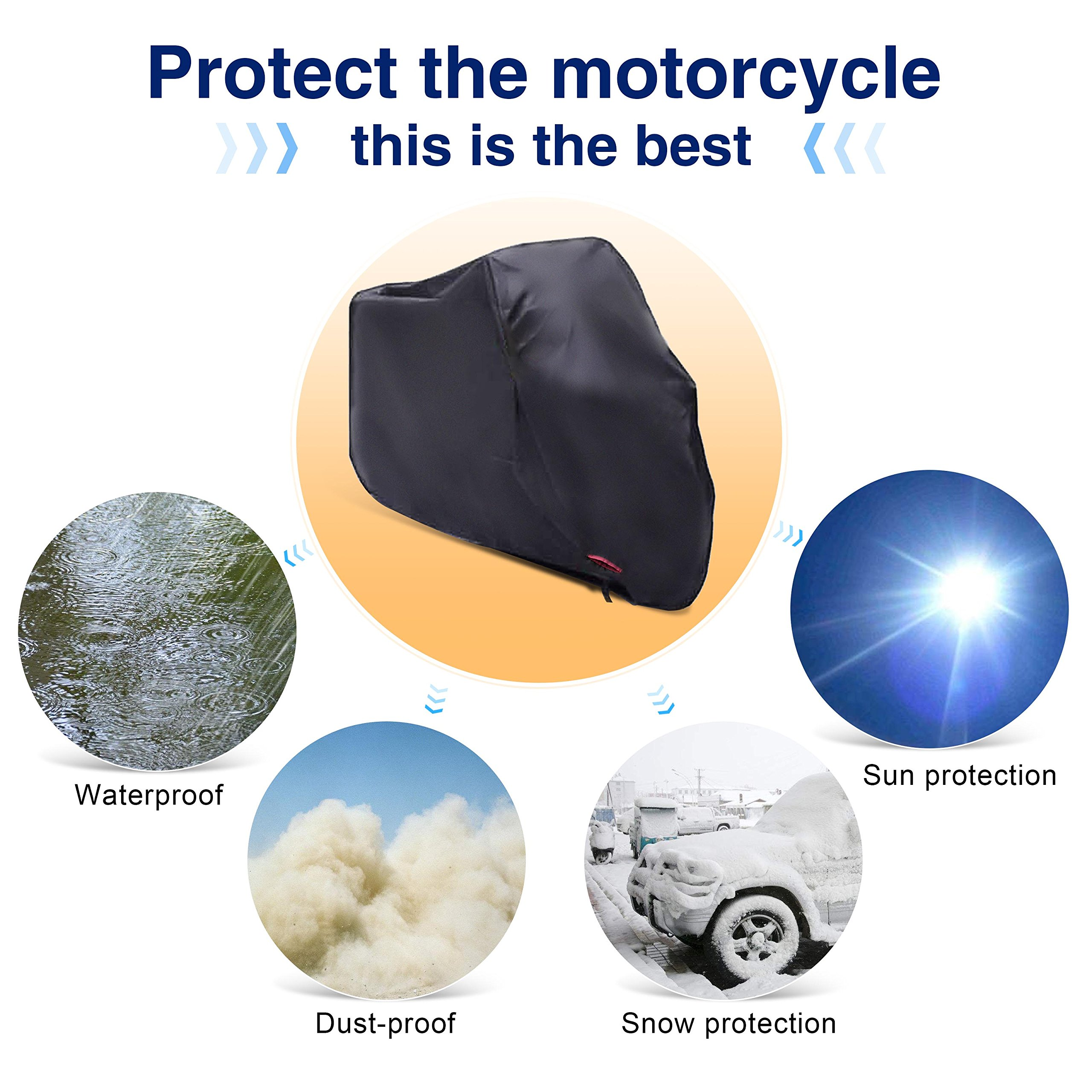 Motorcycle Cover,WDLHQC Waterproof Motorcycle Cover All Weather Outdoor Protection,Oxford Durable and Tear Proof,Precision Fit for 108 Inch Motors Like Honda,Yamaha,Suzuki,Harley and More-XXL,Black by WDLHQC (Image #6)