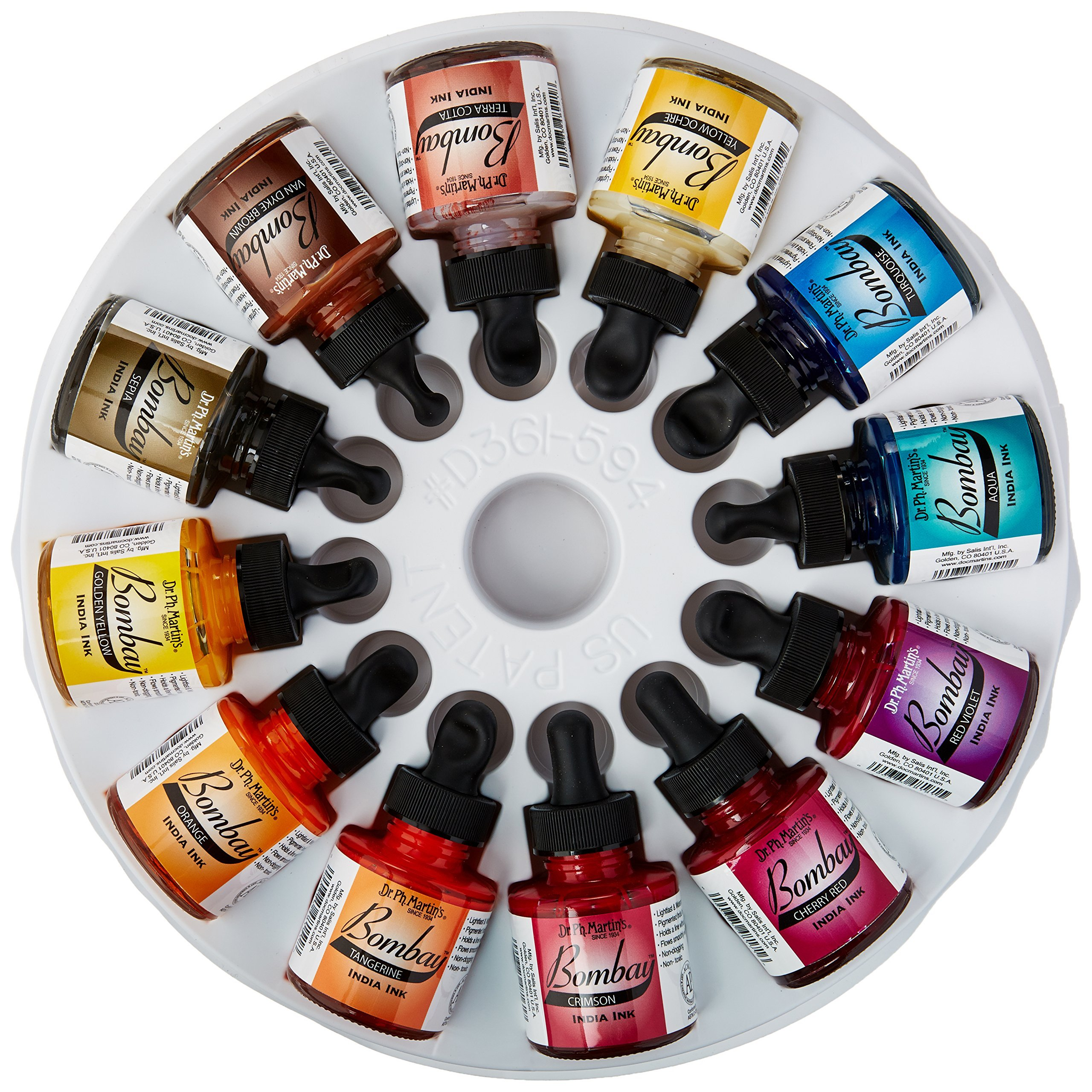 Dr. Ph. Martin's Bombay India Ink (Set 2) Ink Set, 1.0 oz, Set 2 Colors, 1 Set of 12 Bottles. by Dr. Ph. Martin's