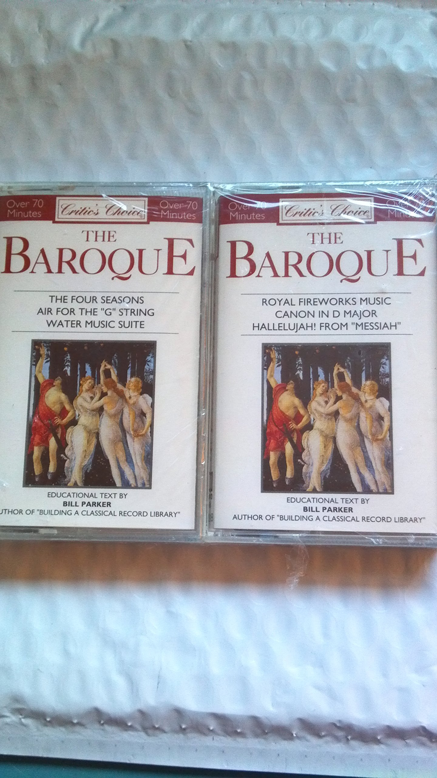 Critic's Choice the Baroque the Four Seasons Air for the ''G'' String Water Music Suite and Royal Fireworks Music Canon in D Major Halleujah! From ''Messiah''