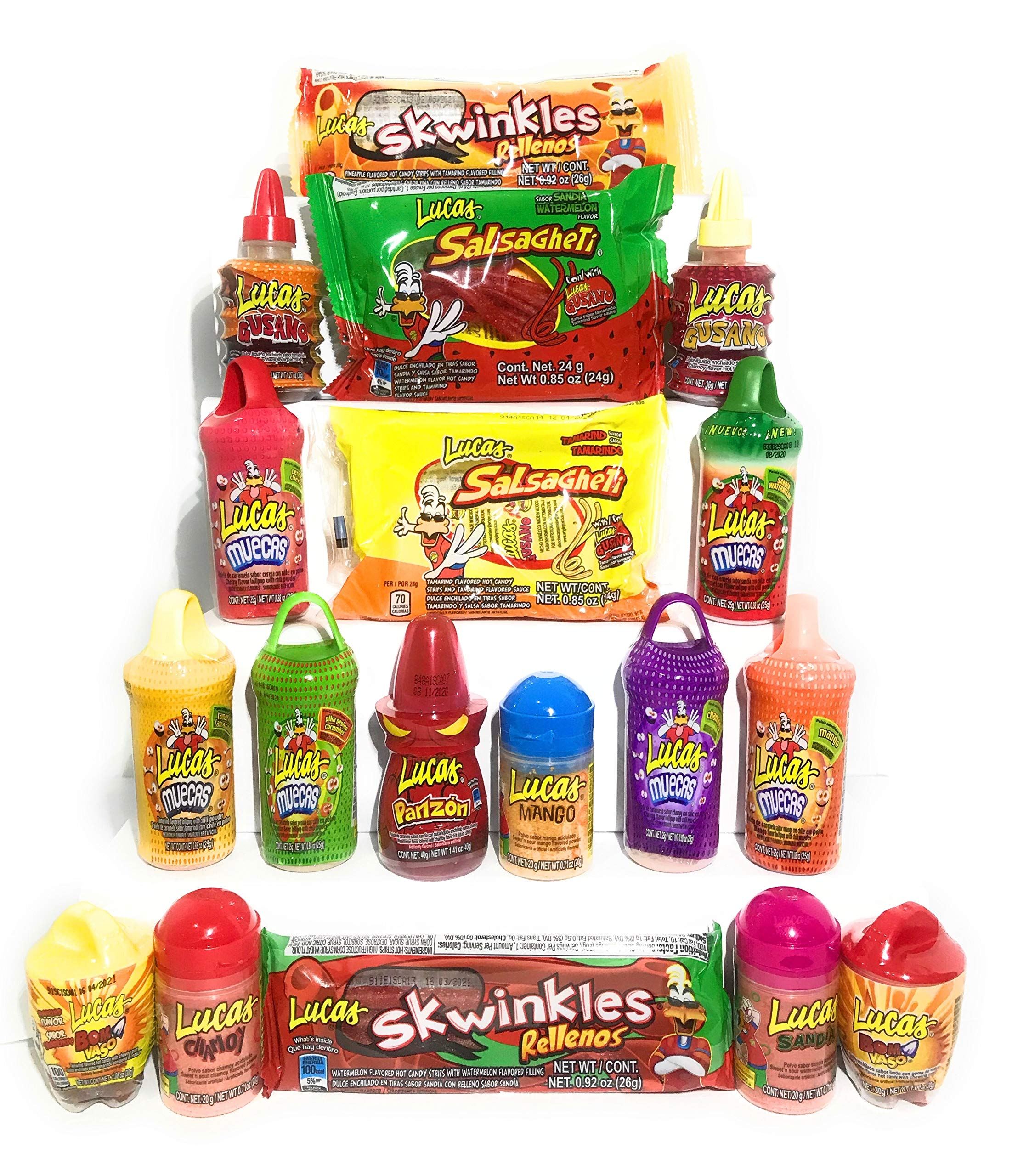 Lucas Ultimate Candy Assortment Premium Mexican Candy (18 Count) Sweet, Sour & Spicy Candy All In One Bundle Dulces Mexicanos Makes Perfect Gift For Everyone Variety Snack Pack