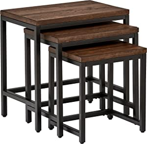 Amazon Brand – Stone & Beam Larson Industrial Wood & Metal Nesting Side End Tables, 24