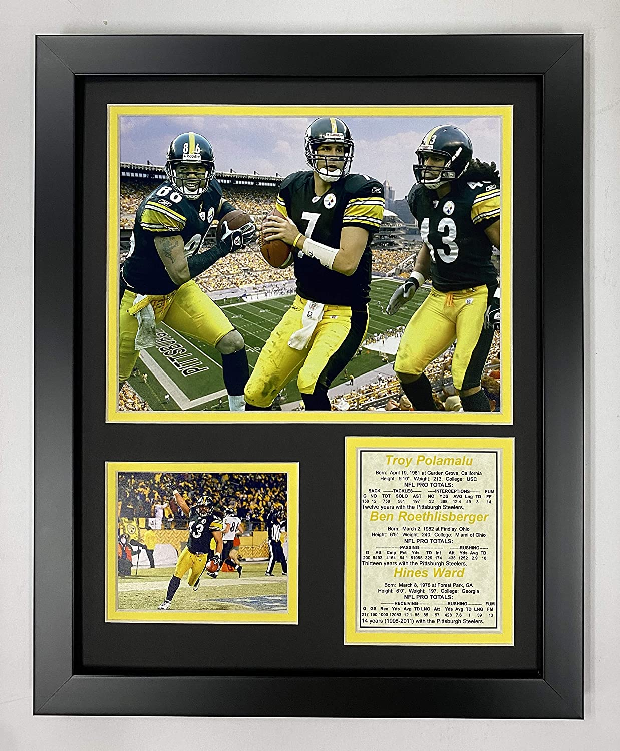 """Pittsburgh Steelers 11"""" x 14"""" Framed Photo Collage by Legends Never Die, Inc. - 2000's Big 3"""