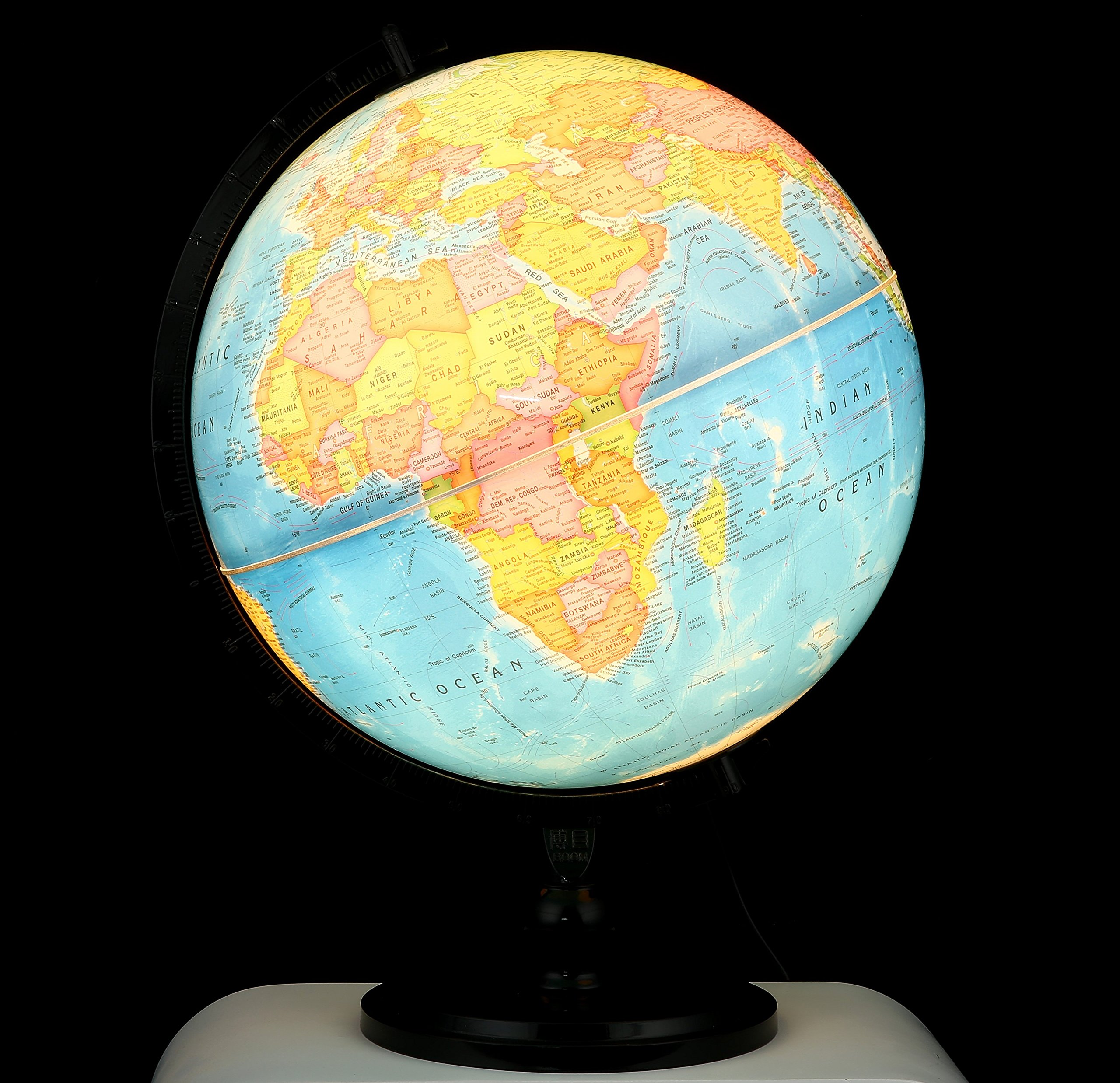 Illuminated Blue Ocean Globe (12.5''/32 cm diameter)-Educational Globe for Kids & Teachers, Over 5,000 Place Names, Energy-Saving LED, Weighted Base by BOOM Globes (Image #2)