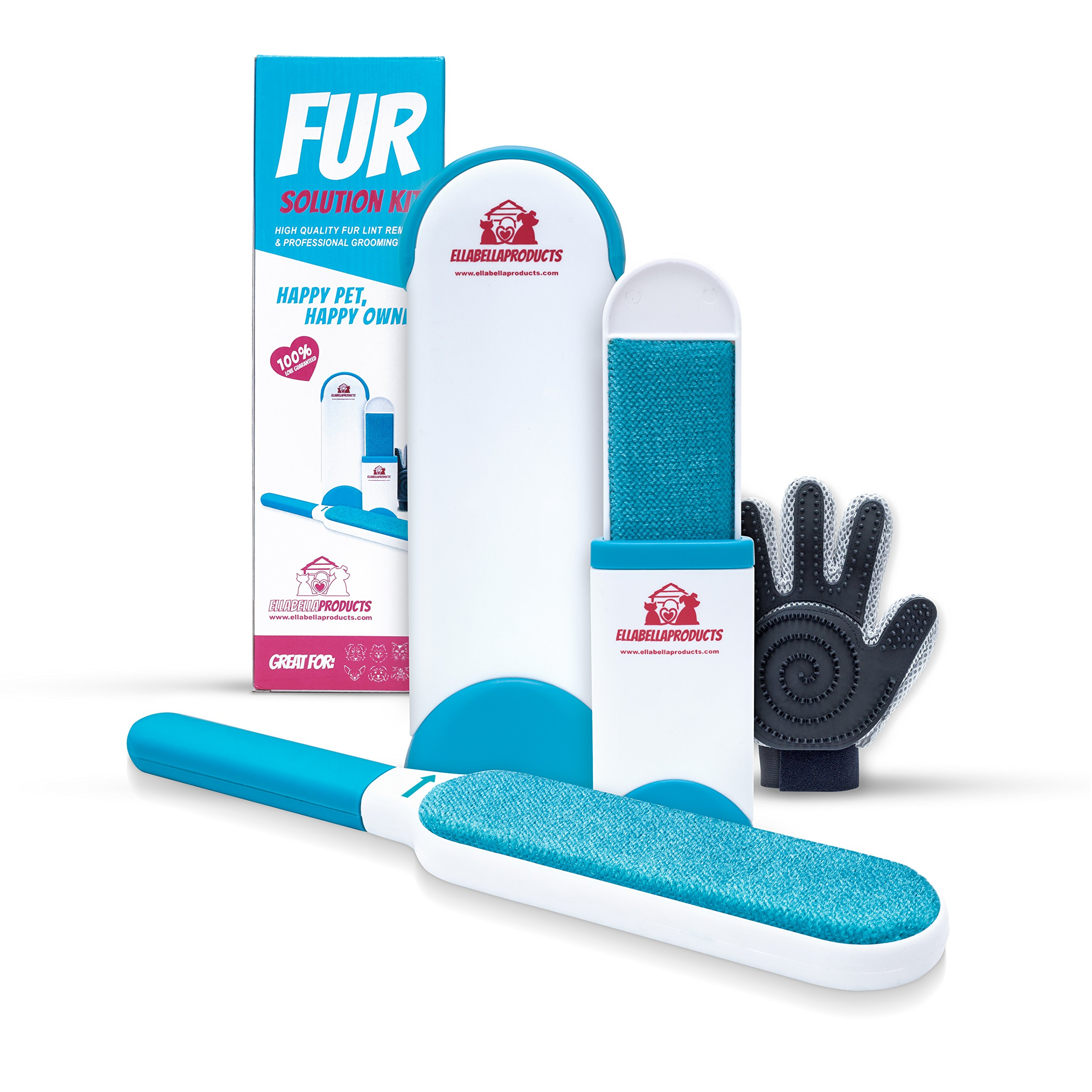 Fur Solution Kit, Fur & Lint Removal, Reusable Self Cleaning Pet Hair Brush, Fur & Lint Removal Brush Kit - Dog & Cat Hair Remover for Clothes,Furniture,Car,Carpet -Includes Grooming Glove