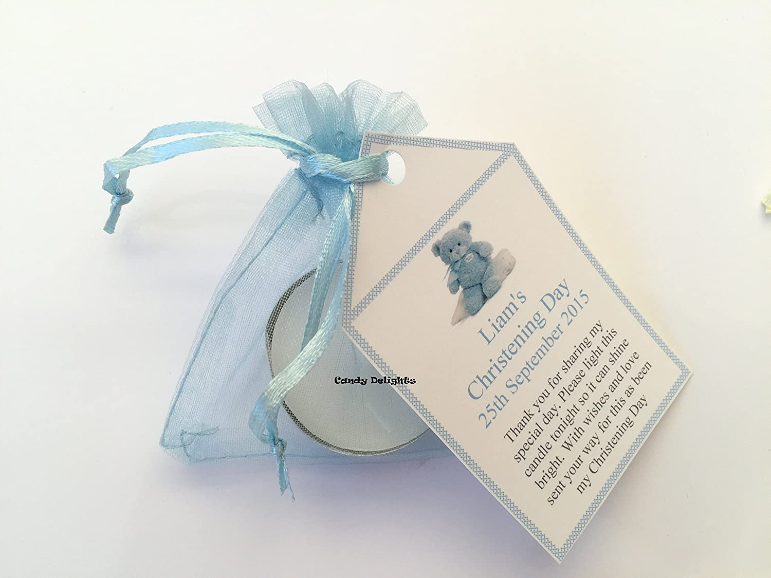Personalised Christening Favour Candles Pram with various colour organza bags