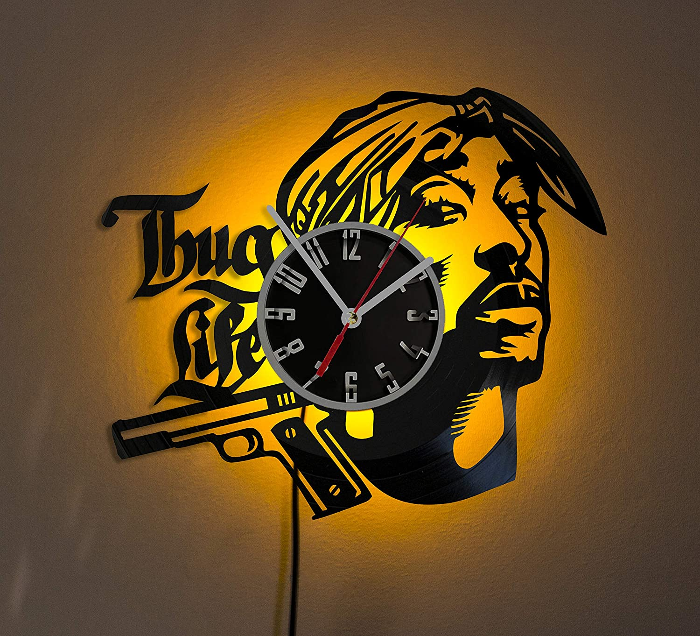 2PAC LED LIGHT Vinyl Record Wall Clock Wonderful Handmade Gift Amazing Home D/écor Night Light Night Lamp