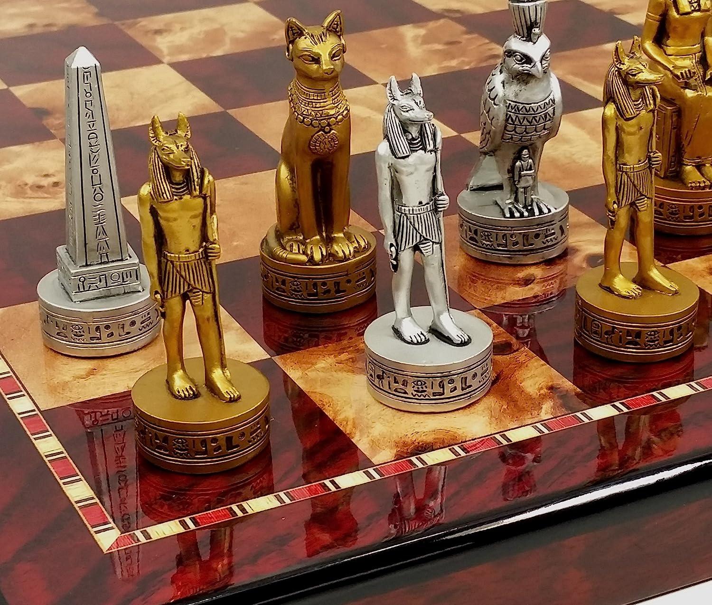 格安人気 Egyptian B075SQCNY5 and Anubis Chess Men Set Set Gold & Silver Antiqued With 18