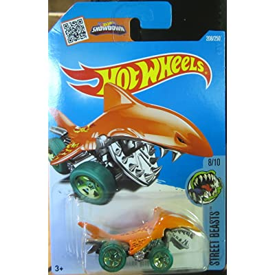 Hot Wheels, 2016 Street Beasts, Shark Bite 208/250, Orange: Toys & Games