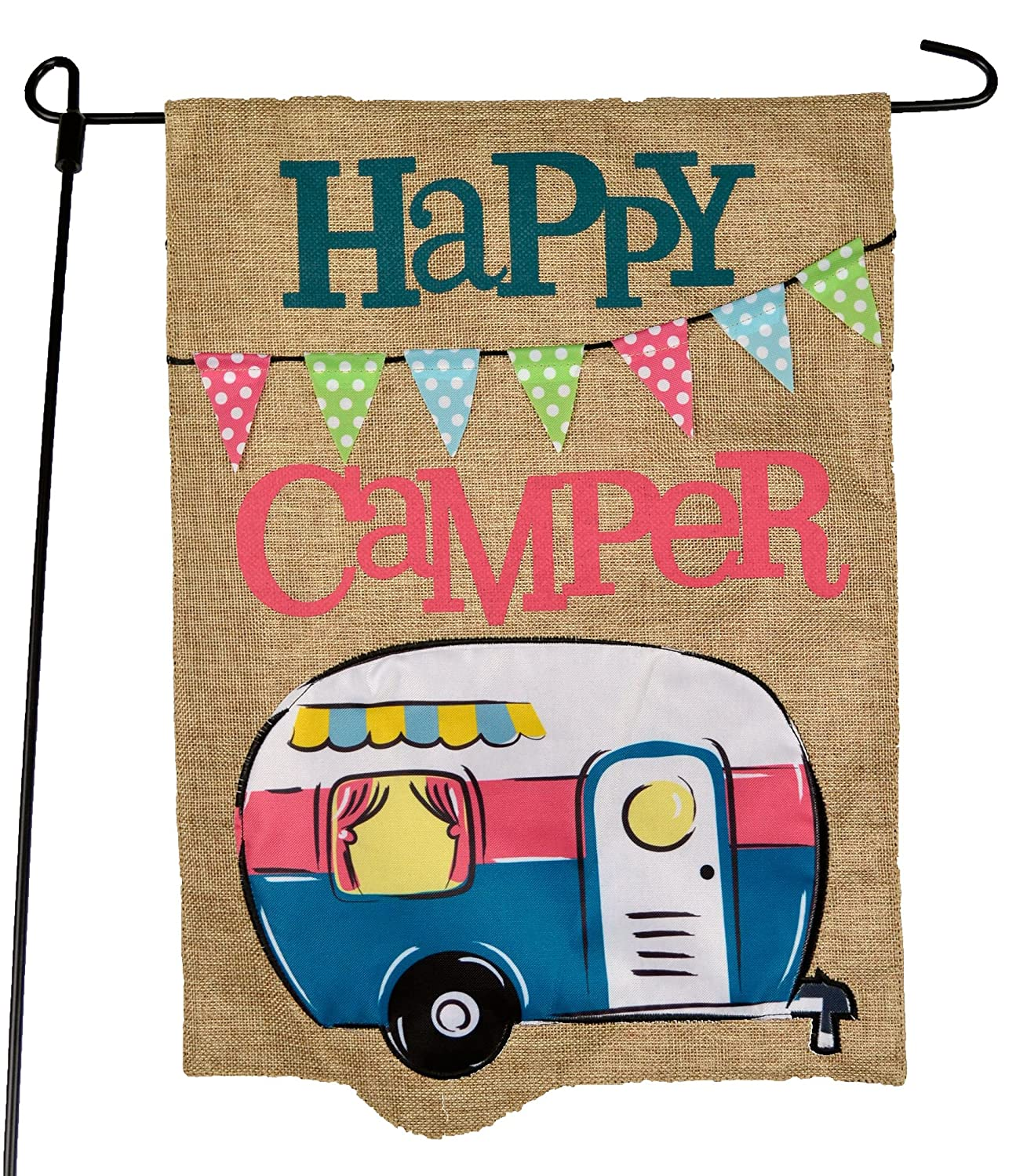 JEC Home Goods Camping Camper Garden Flag Happy Camper Blue Design - Summer Garden Flags for Camping 12.5 x 18