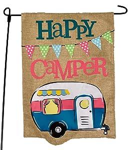 JEC Home Goods Camping Camper Garden Flag Happy Camper Blue Design - Summer Garden Flags for Camping 12.5 x 18