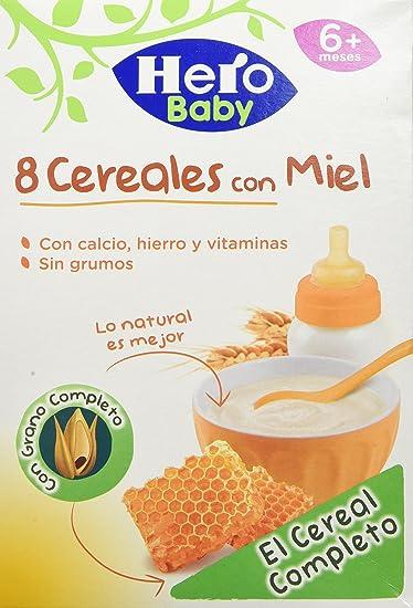 Hero Babynatur - 8 Cereales Miel 500 gr - Pack de 6 (Total 3000 grams