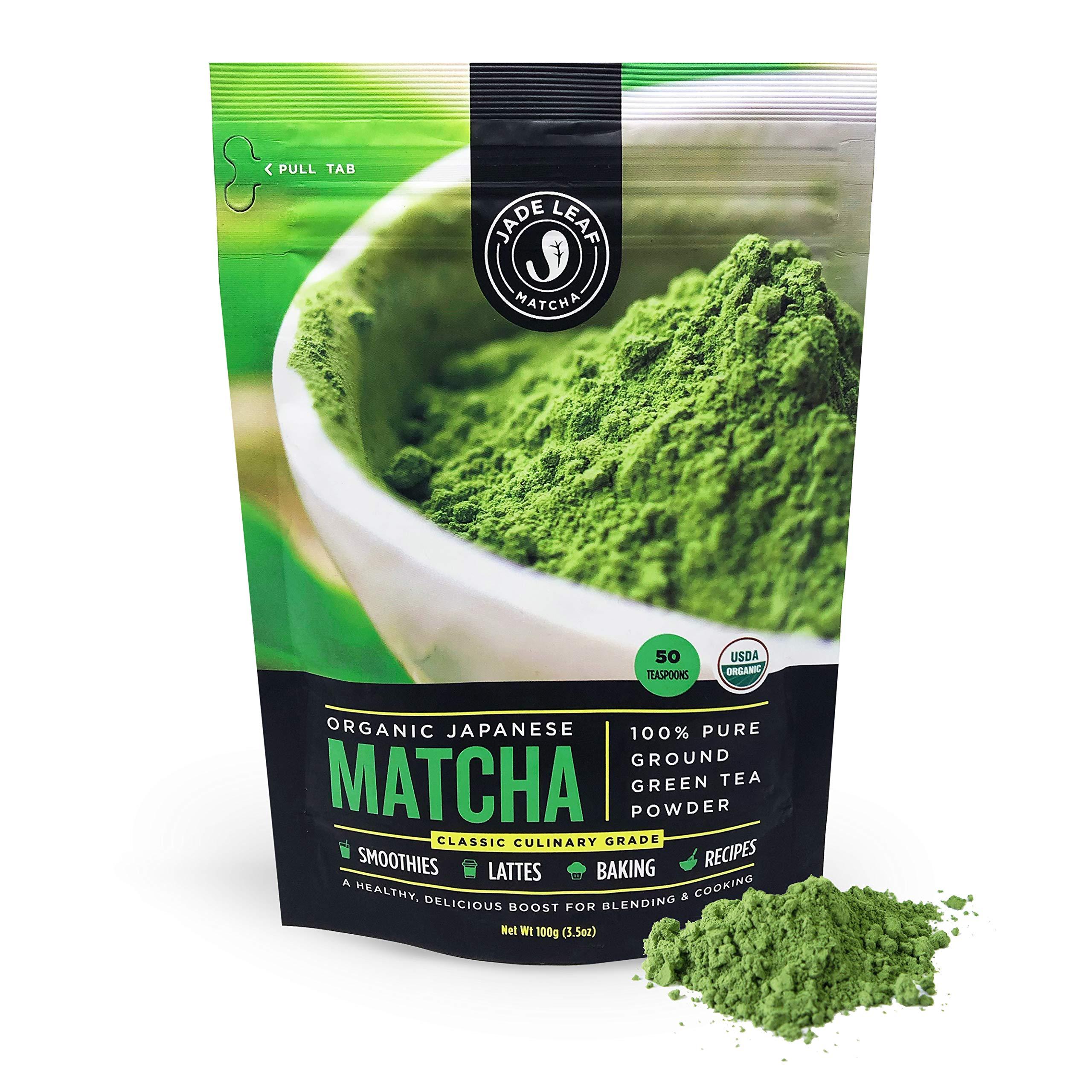 Jade Leaf - Organic Japanese Matcha Green Tea Powder - USDA Certified, Authentic Japanese Origin - Classic Culinary Grade (Smoothies, Lattes, Baking, Recipes) - Antioxidants, Energy [100g Value Size] by Jade Leaf Matcha