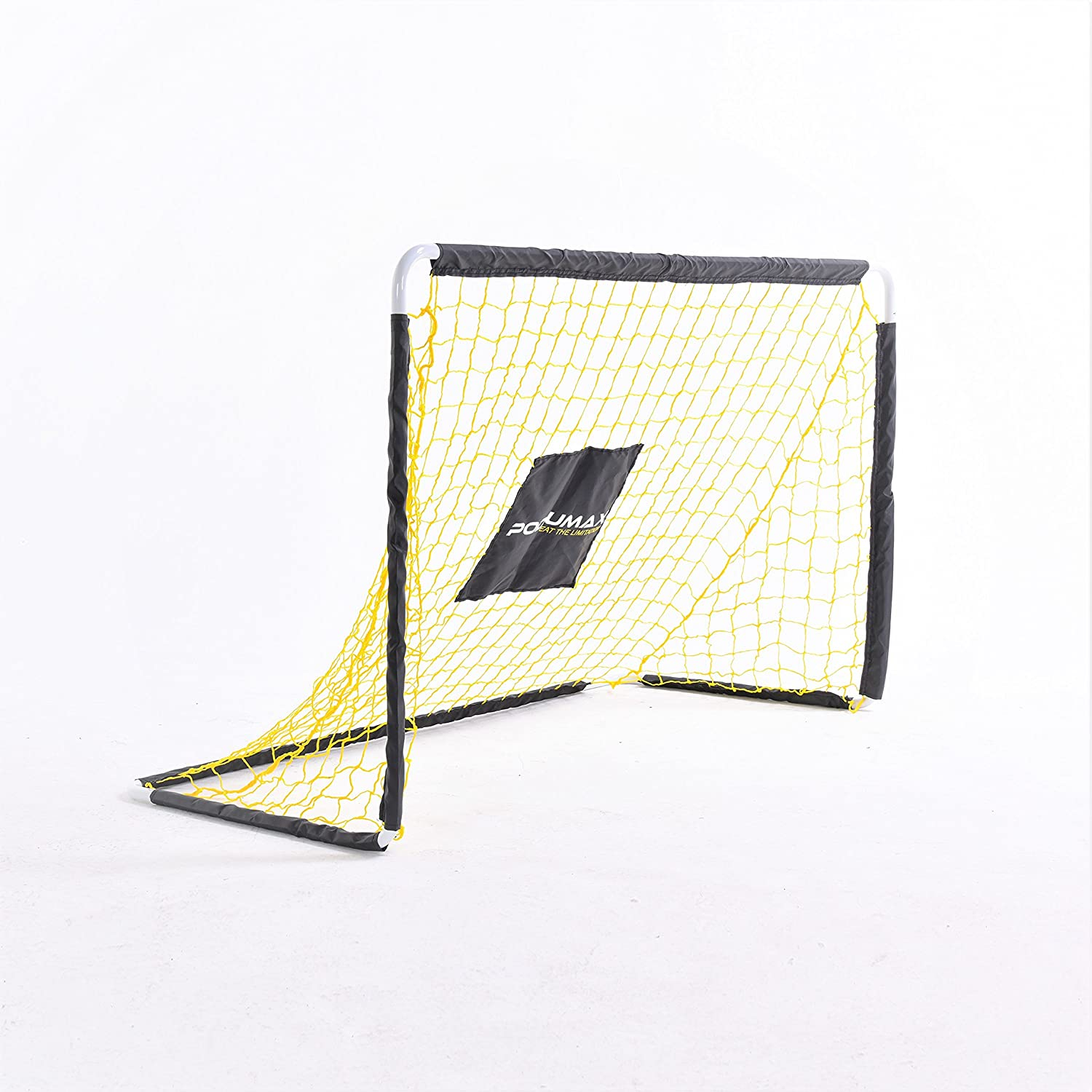 PodiuMax Football Goal for Kids Children, DIY Metal Tube with Powerful Net &Ground Pegs, Perfect for Garden Scrimmage Game, Black/Yellow |Limit time sale| PDMS2016004