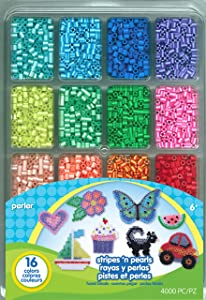 Perler Beads Stripes And Pearls Assorted Fuse Beads Tray For Kids Crafts, 4000 pcs