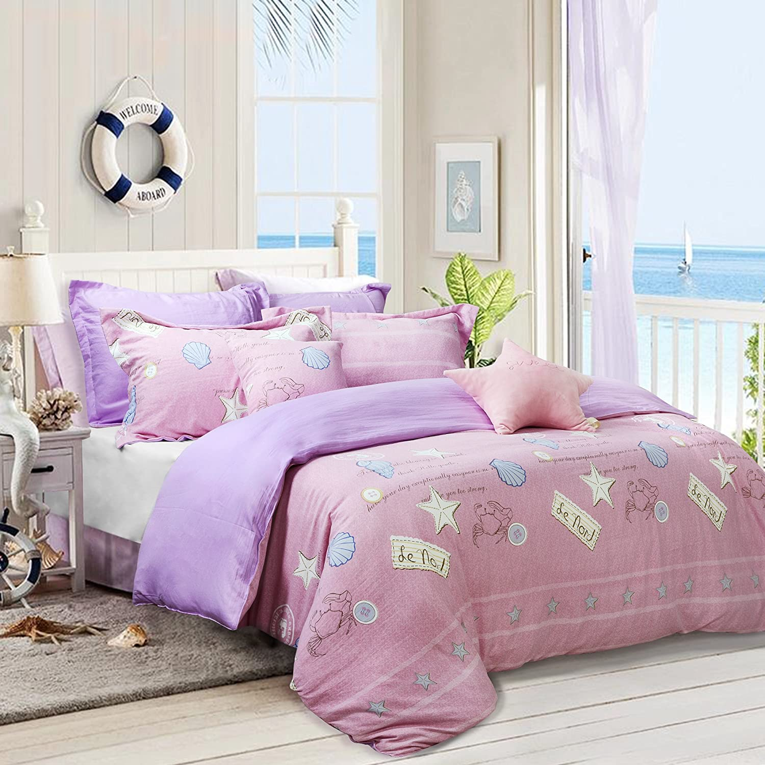 . TEALP Coastal Living Bedding Dover Cover Reversible Starfish Print Bedding  Sets Soft Breathable Material for Grils