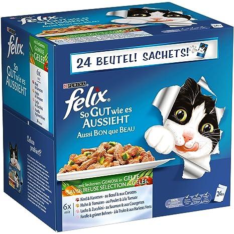 Felix Comida húmeda para gatos Así buena como es mira Carne & Pescado Mix con Verduras