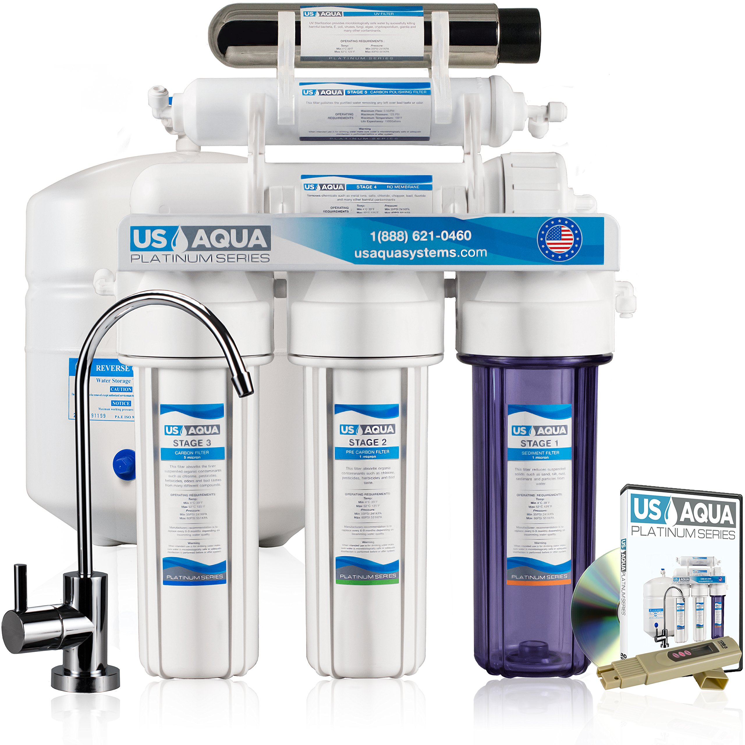 Us Aqua Platinum Series High Capacity 100Gpd 6 Stage Uv Under