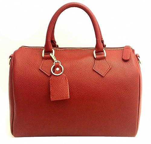 da373325ec DEEP ROSE Borsa Bauletto ch Vera Pelle donna made in Italy con tracolla a  spalla mano COLORE ROSSO: Amazon.it: Scarpe e borse