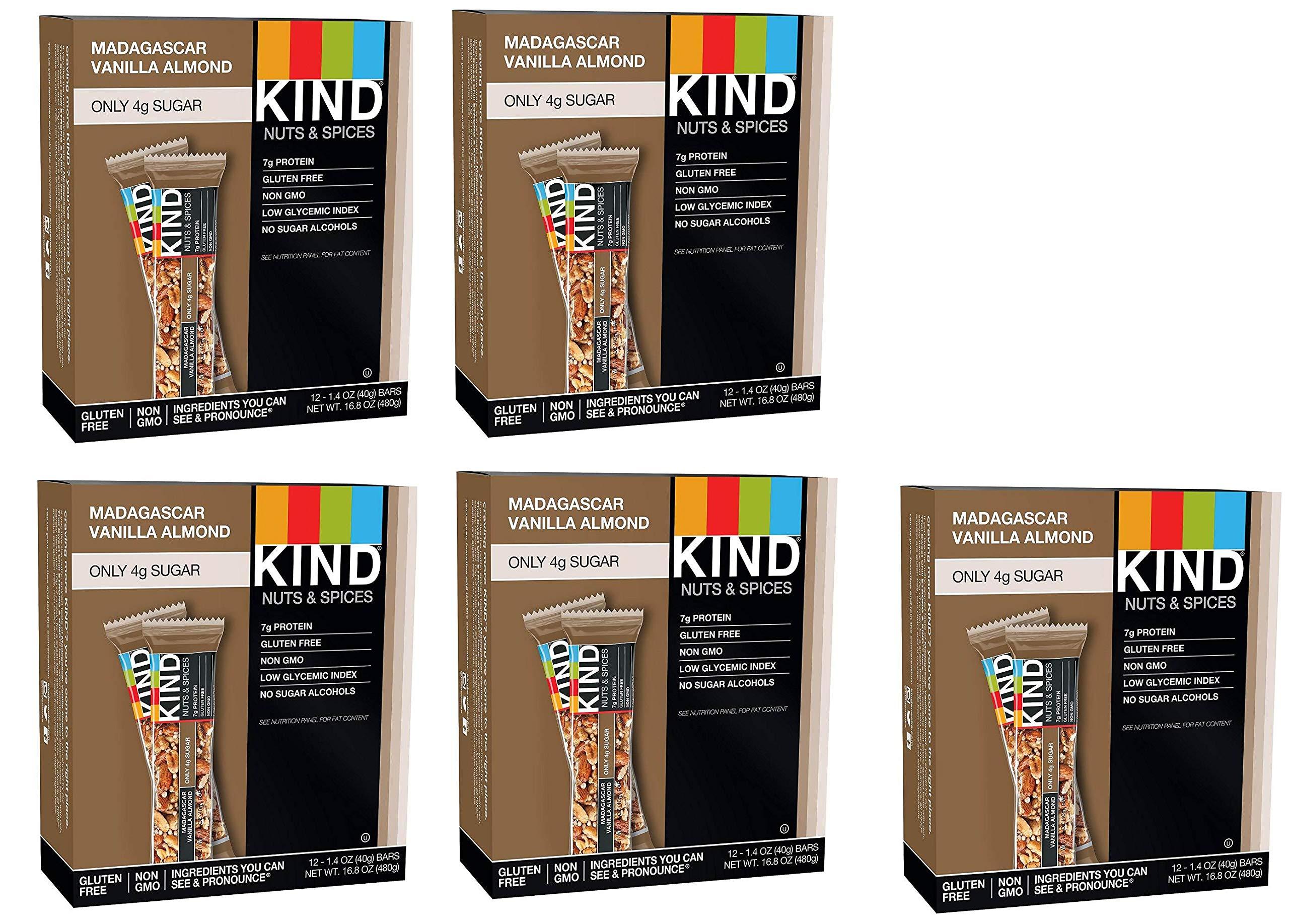 KIND Bars, Madagascar Vanilla Almond, Gluten Free, Low Sugar, 1.4oz, 60 Bars