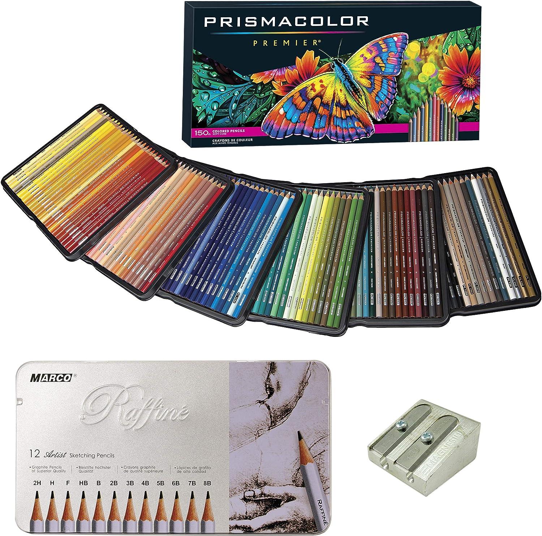 Prismacolor Colored Pencils Art Kit Gift Set – Artist Premier Wooden Soft Core Pencils 150 ct. Includes 12pc Raffine Artist Black Graphite Pencils & KUM 2 Hole Magnesium Sharpener [163 pc. Set]