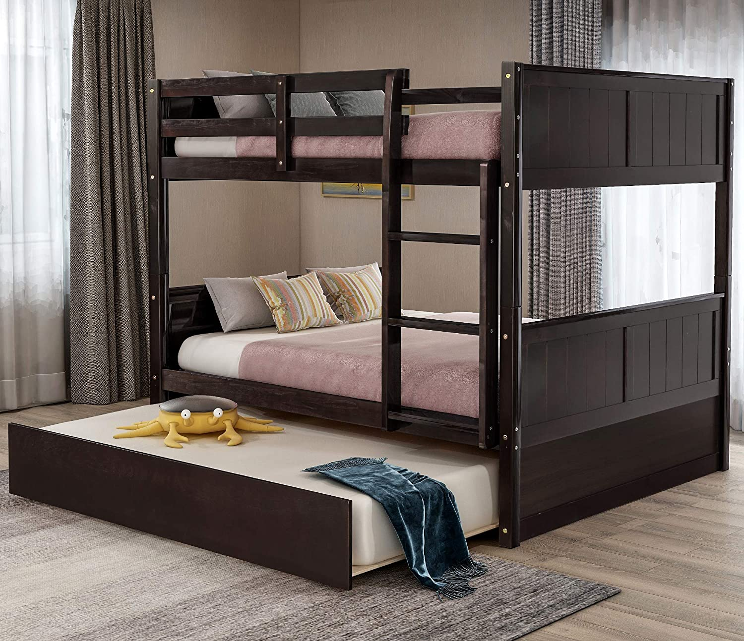 Merax Full Over Full Wood Bunk Bed with Trundle Bed and Removal Ladder and Safety Rail, Can be Divided into 2, Dark Espresso