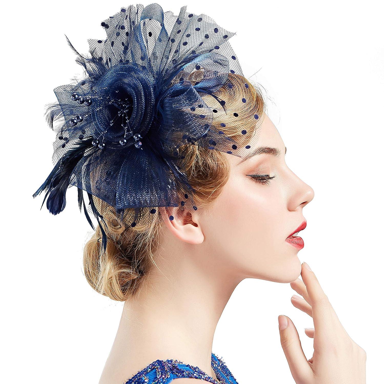 Amazon.com  BABEYOND Women s Fascinators Hat Mesh Feather Fascinator Flower  Hair Clip Veil Derby Hat Bridal 1920s Headpiece for Cocktail Tea Party  (Dark ... 60bc57cf6a3
