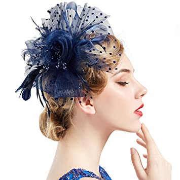 969aa24cd92a4 BABEYOND Women s Fascinators Hat Mesh Feather Fascinator Flower Hair Clip  Veil Derby Hat Bridal 1920s Headpiece