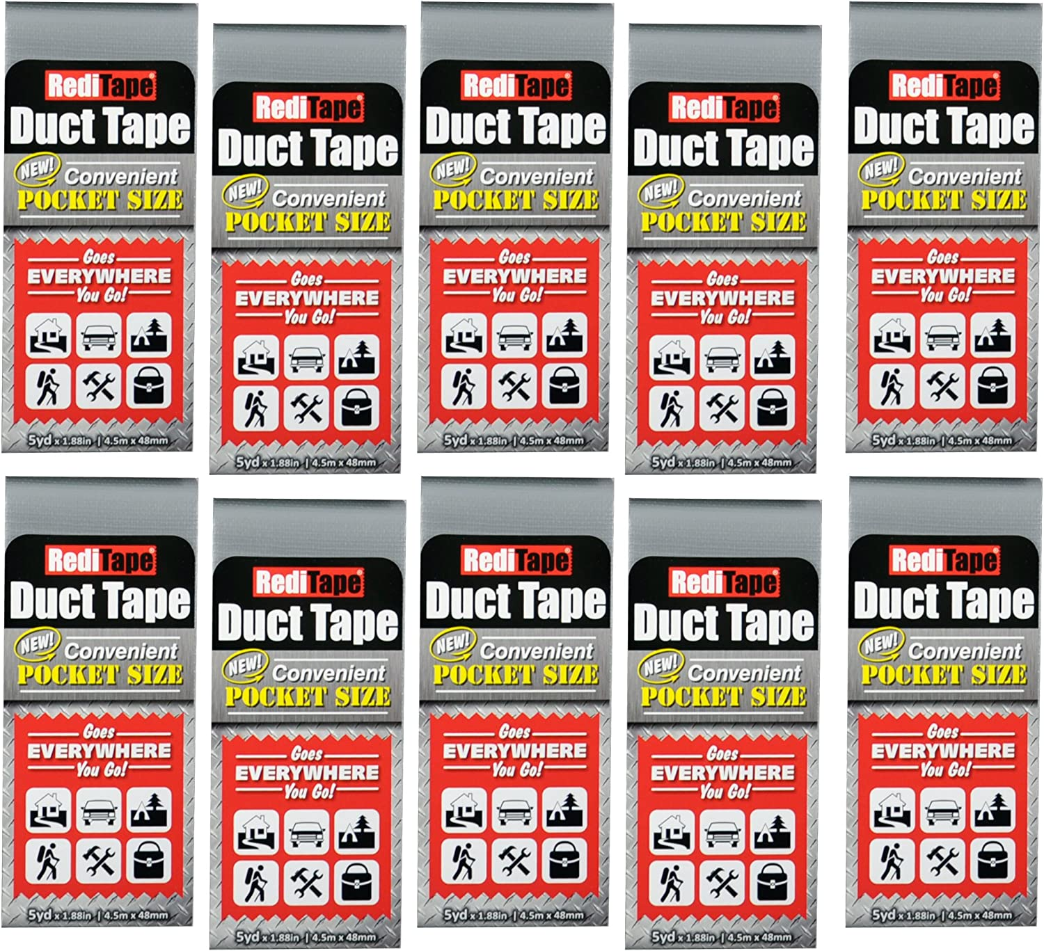 RediTape 10939 Compact Flat Fold Duct Tape for Travel, Camping, Photography and Emergencies | Pocket Size, 10-Pack, Silver, 10 Piece