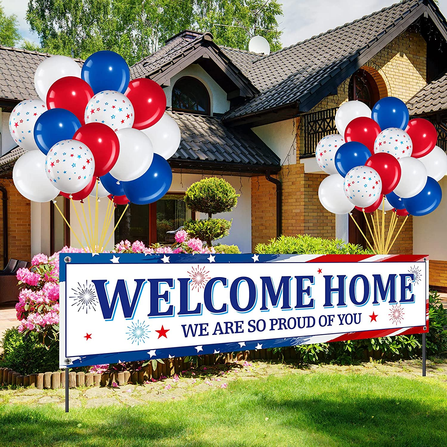 36 Pieces Welcome Home Banner Decoration Set, Large Fabric We are So Proud of You Banner with 35 Pieces Latex Balloons for Deployment Returning Party Supplies and Military Army Homecoming Party Decor