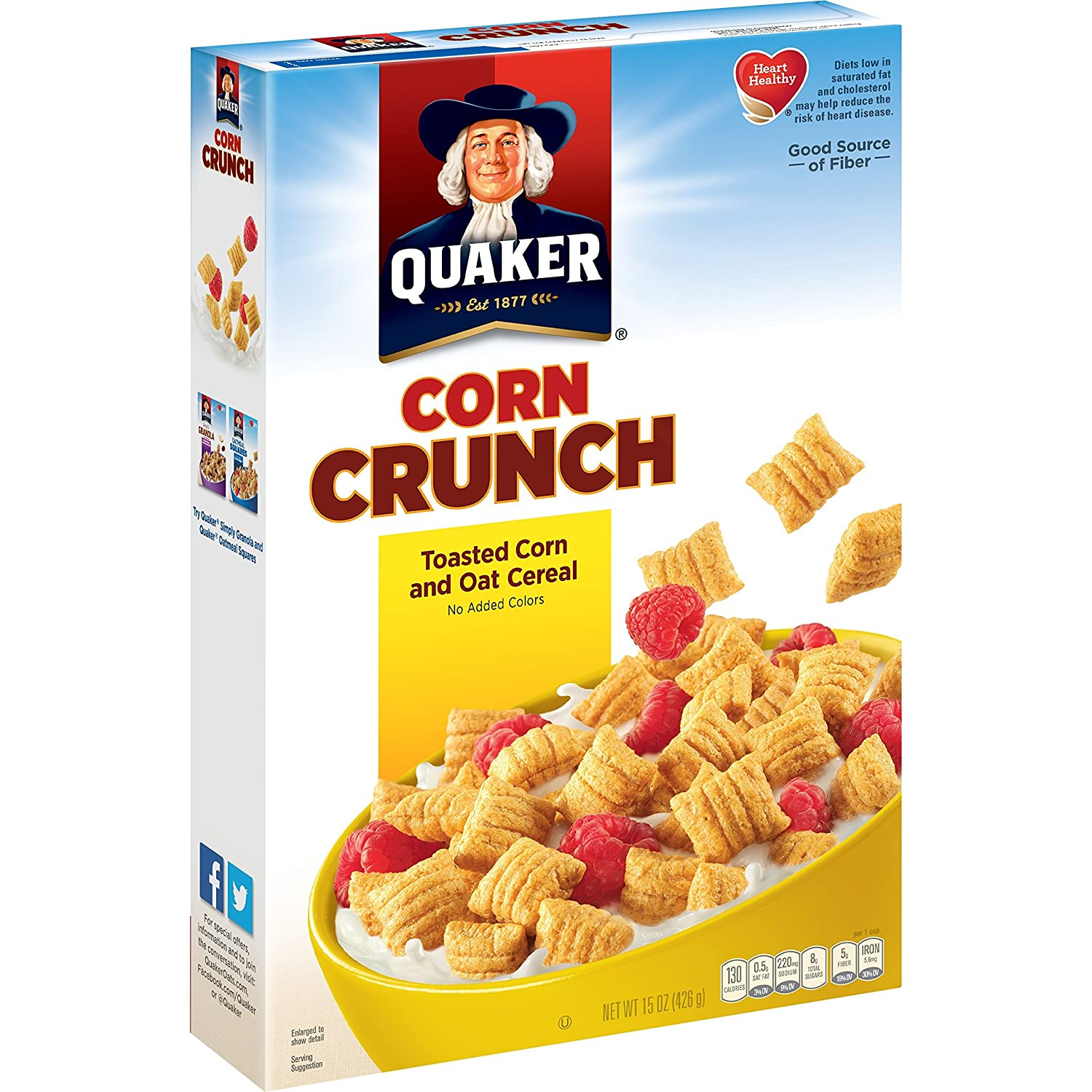Quaker Corn Crunch, Toasted Corn and Oat Breakfast Cereal, 15oz (Pack of 14)