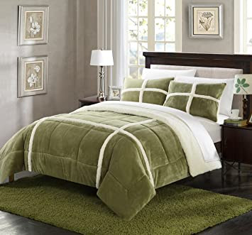 Amazoncom Perfect Home 3 Piece Cindy Mink Sherpa Lined Queen