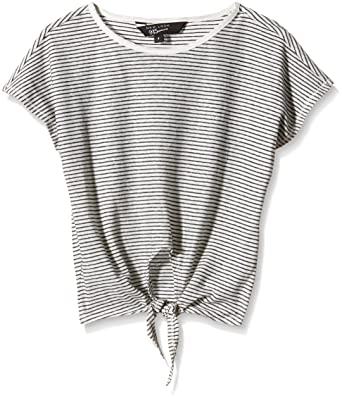 a210bc8128 New Look 915 Girl's Stripe Tie Front Short Sleeve Crew Neck T-Shirt, White